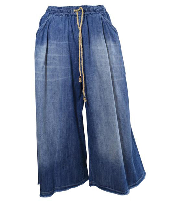 Denim Culottes with Drawstring -  Luna Boutiques