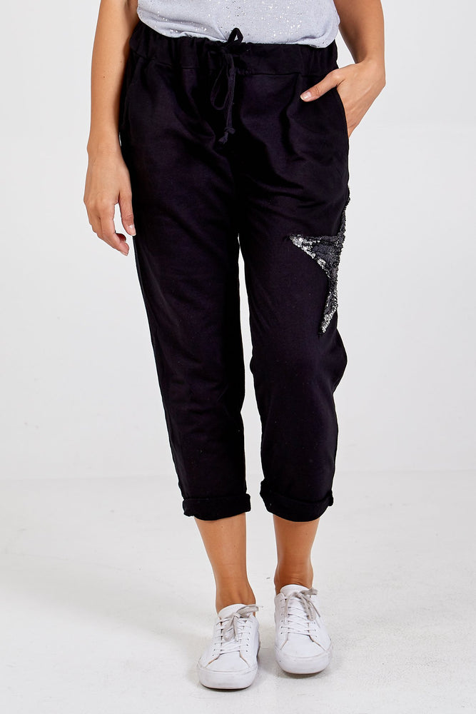 Load image into Gallery viewer, Sequin Star Joggers -  Luna Boutiques