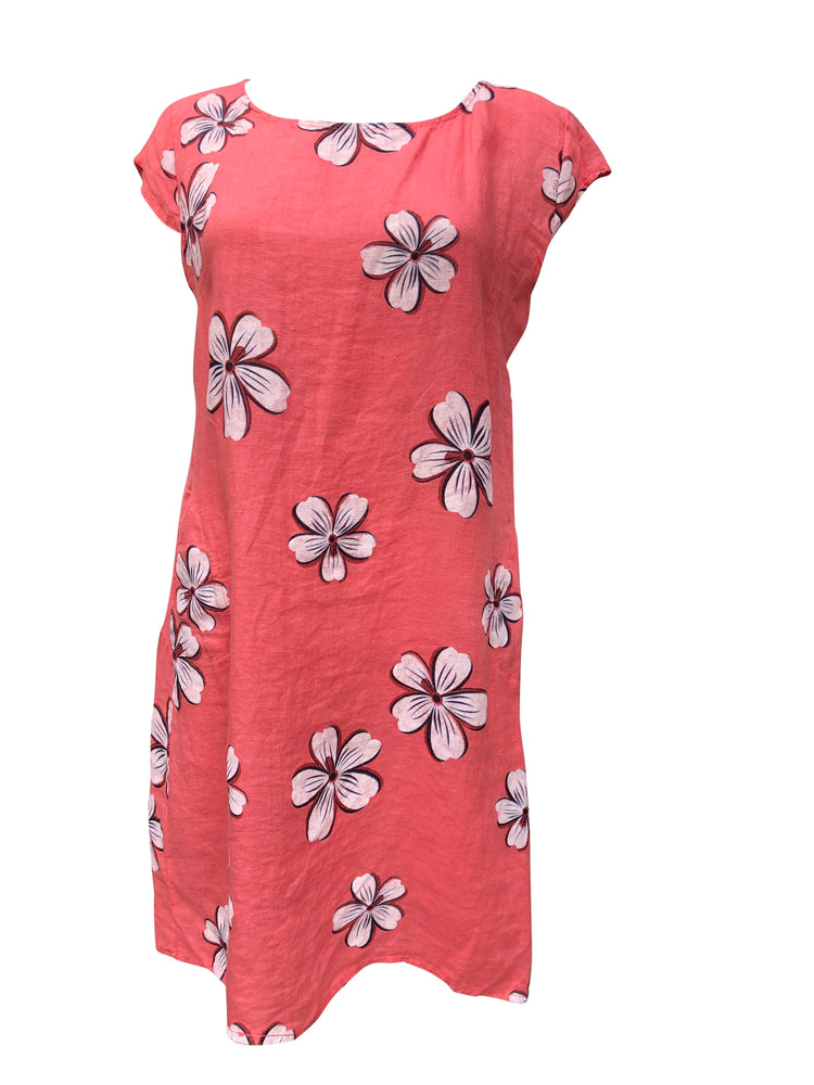 Load image into Gallery viewer, Flower Capped Sleeve Linen Dress -  Luna Boutiques