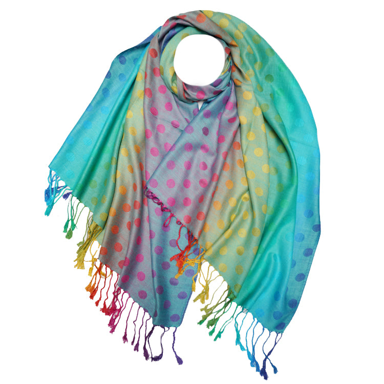 Load image into Gallery viewer, Rainbow Dots Pashmina -  Luna Boutiques
