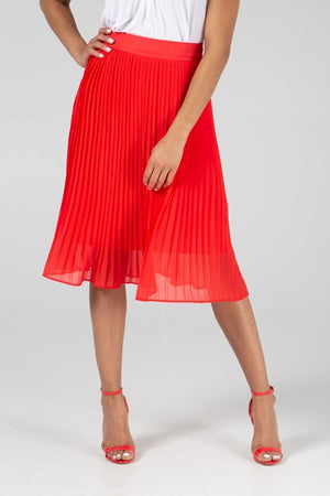 Pleated Red Midi Skirt -  Luna Boutiques