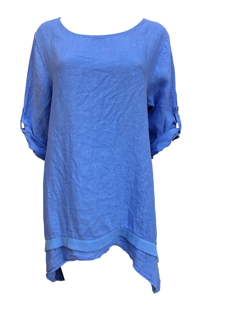 Load image into Gallery viewer, Drop Side Rib Detail Linen Top -  Luna Boutiques