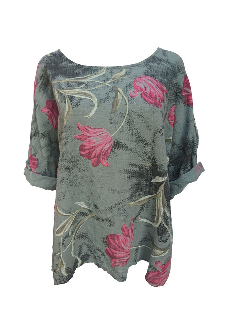 Load image into Gallery viewer, Tulip Print Linen Top -  Luna Boutiques