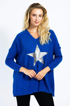 Load image into Gallery viewer, V-Neck Velvet Star Jumper -  Luna Boutiques