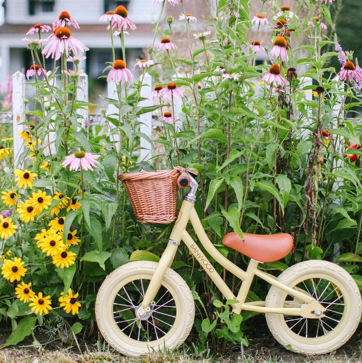 banwood balance bike. hipster balance bike. yellow banwod bike