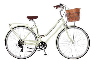 Dawes duchess delux. pretty cream commuter bicycle for women.