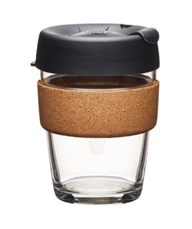 Keep Cup 12 oz Glass and Cork. Black