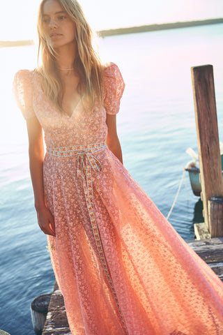 Peach lace maxi dress with puffed short sleeves and V-neck detailing
