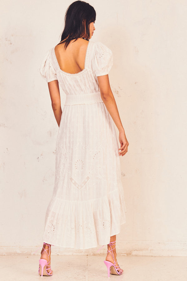 White floral embroidered maxi dress with puffed sleeves and fitted waist