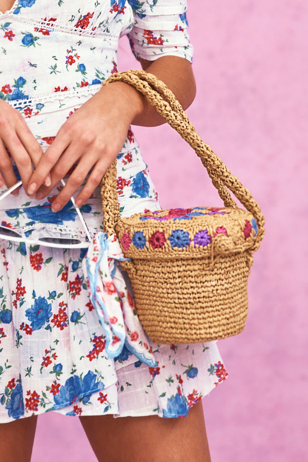 Basket tote with floral embroidery detail