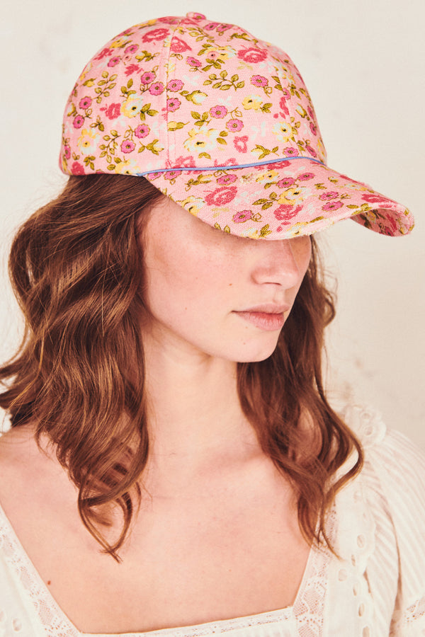 Pink and yellow floral print hat