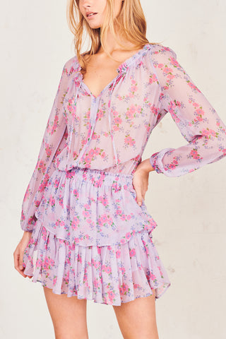 Pink and purple floral print silk mini dress with elastic waist and tiered ruffle skirt