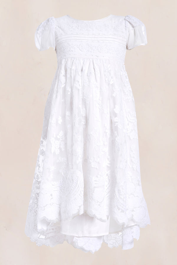 White embroidered maxi dress with puffed short sleeves