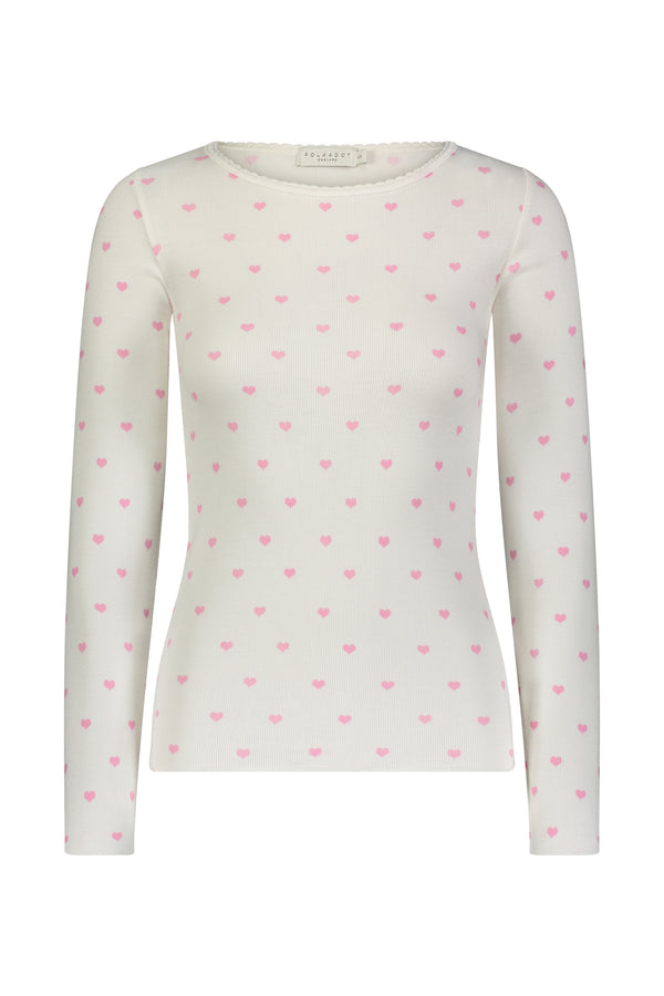 Heart Print Crew Neck Top