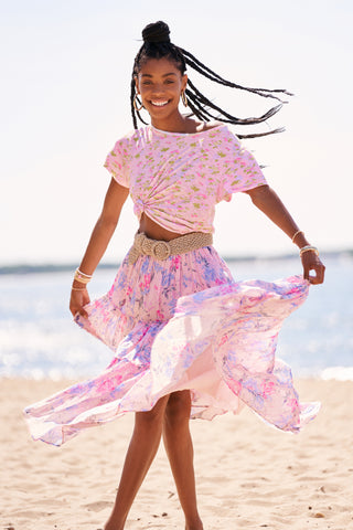 Pink and blue tiered maxi skirt with elastic waist and side slit