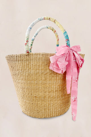 Straw tote bag with floral print leather straps