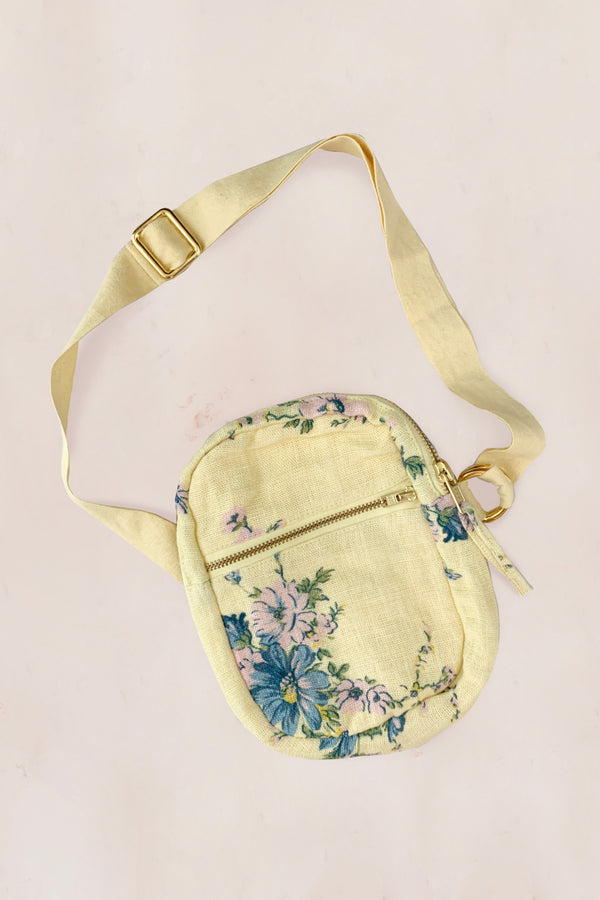 Yellow and blue floral front fanny bag