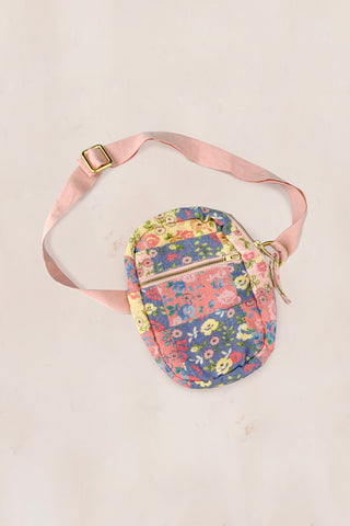 Yellow, pink and blue floral front fanny bag