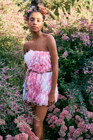 Pink and white tie dye tulle ruffle strapless mini dress