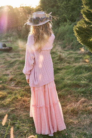 Pink cable knit long cardigan