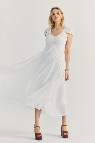 White maxi dress with short sleeves and lace detail