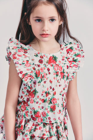 Strawberry print blouse with ruffle flutter sleeves detail