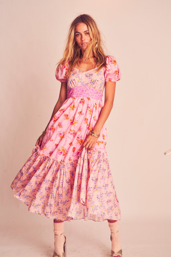 Pink and orange floral print v neck maxi dress with short puffed sleeves and fitted waist