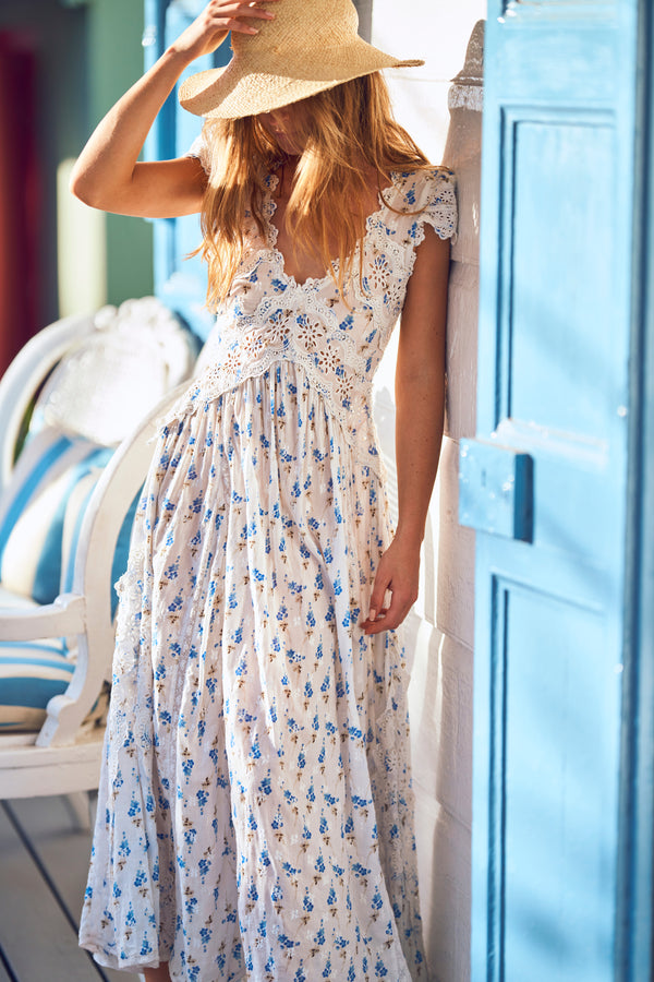 White and blue floral printed maxi dress with white embroidery detail
