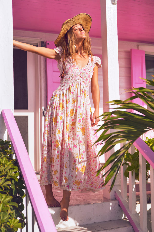 White and pink floral printed maxi dress with white embroidery detail