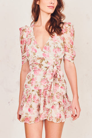 Pink floral print silk mini dress with puffed sleeve, ruched skirt, fitted waist and V-neck detail