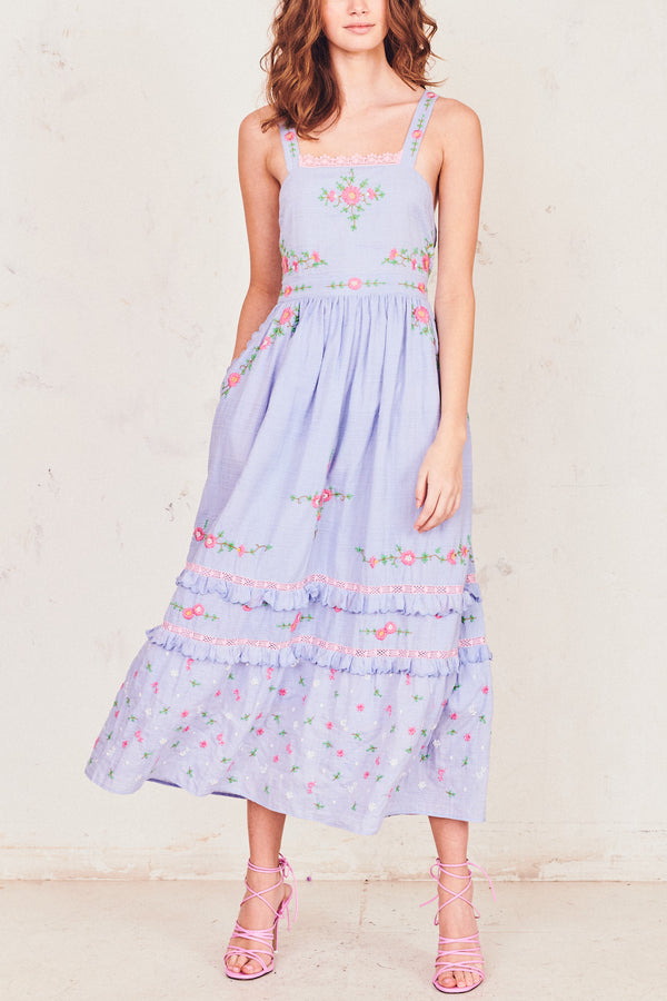 Blue print maxi dress with pink floral embroidered detailing