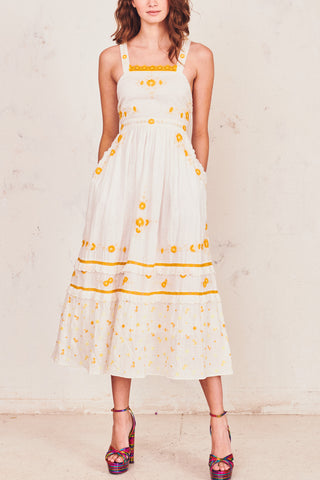 White print maxi dress with yellow floral embroidery detailing