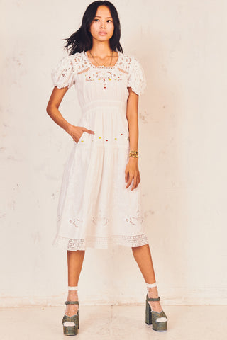White floral embroidery midi dress with puffed short sleeve and multi-colored floral detailing