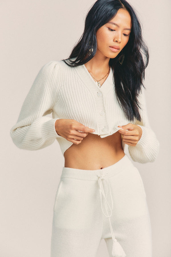 White cropped cashmere-wool blend button down cardigan with bow detail