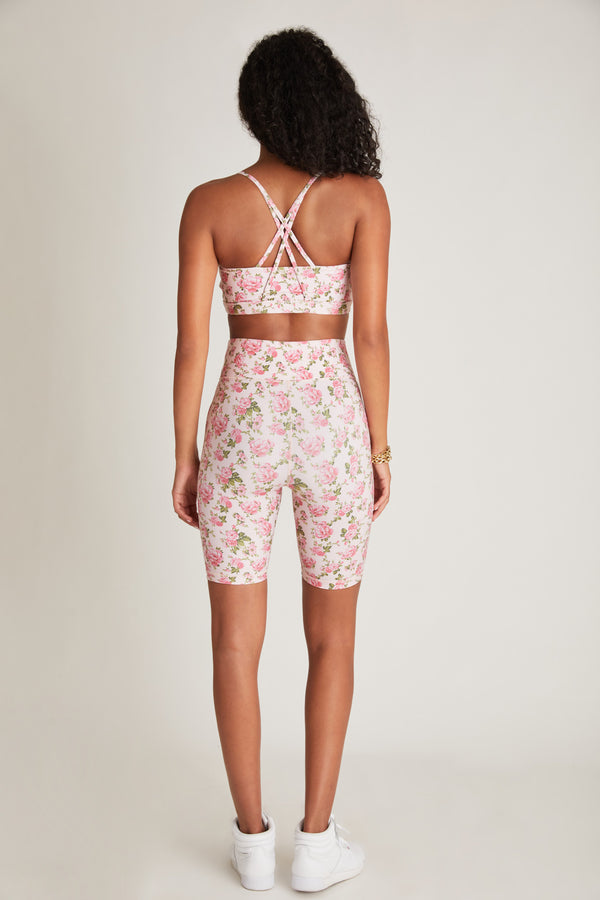 Pink floral print fitted biker shorts with wide waistband