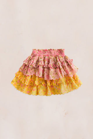 Pink and yellow floral print mini skirt with shirred elastic waist and tiered ruffle bottom
