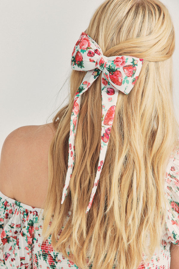 Strawberry print bow barrette