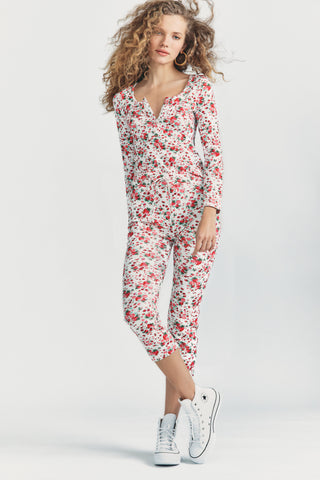 Strawberry print cropped pants with tie waist