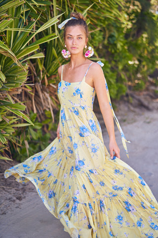 Yellow and blue floral print tiered maxi dress with bow at the shoulders
