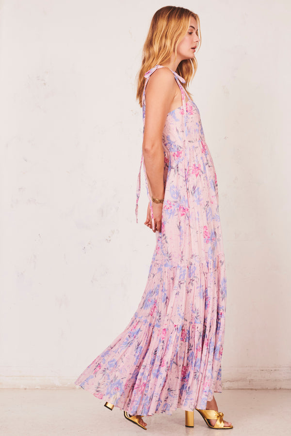 Pink and blue floral print tiered maxi dress with bow at the shoulders