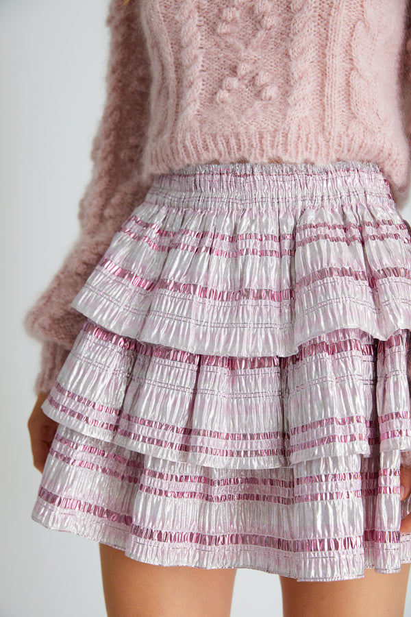 Tiered pink and silver stripped ruffle mini skirt with elastic waist