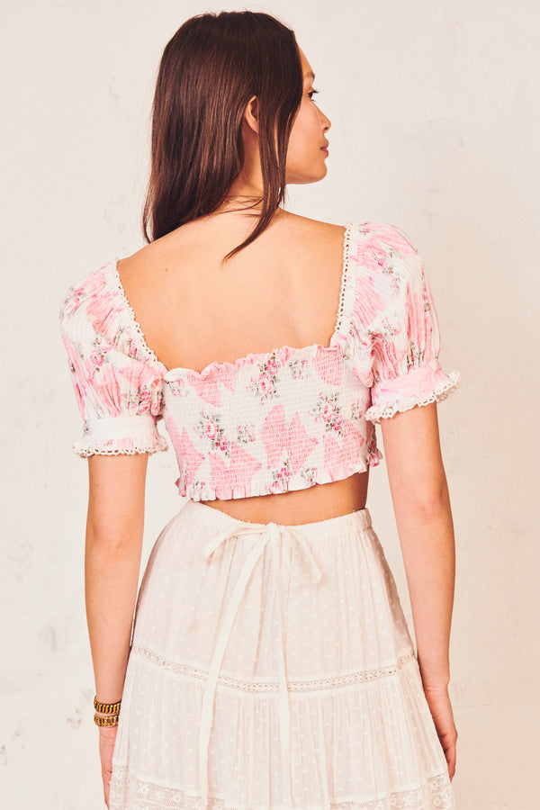 Pink floral print shirred bodice crop top with puffed short sleeves and square neck line