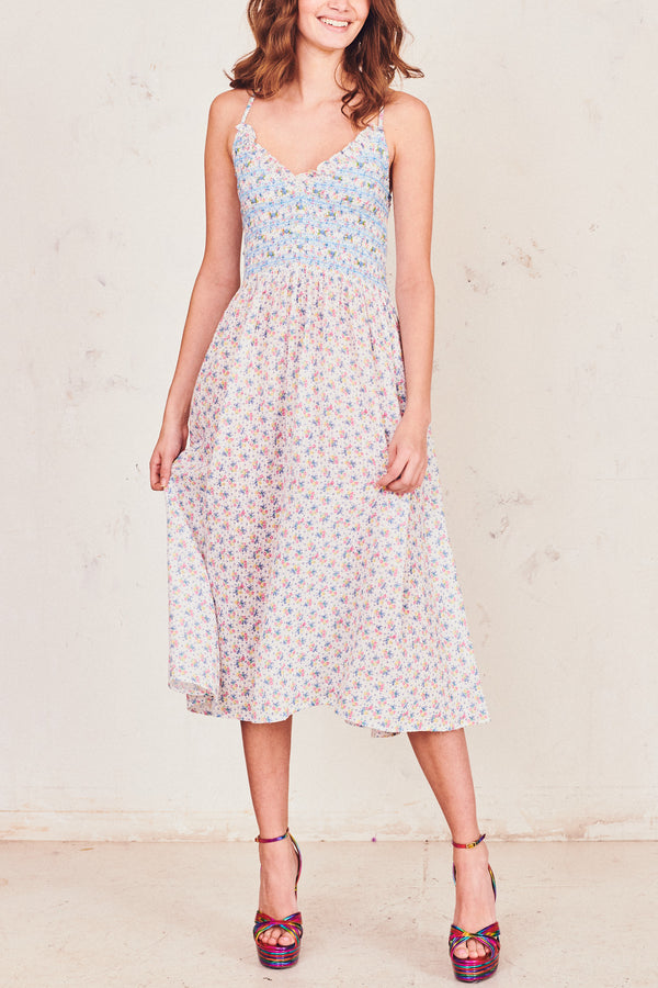 Blue and white floral print midi dress with shirred waist