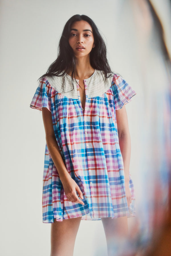 Blue and pink checker mini dress with short sleeve and embroidered collar