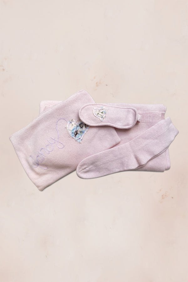 Pink cashmere blanket, socks, eye mask and pouch set with floral embroidery
