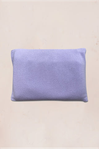 Purple cashmere blanket, socks, eye mask and pouch set with floral embroidery