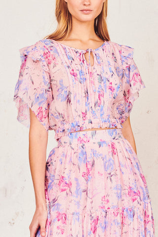 Pink and blue floral print tie top with elastic waist and tiered ruffle sleeves