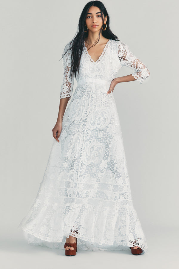 White lace maxi dress with v neck and long sleeves