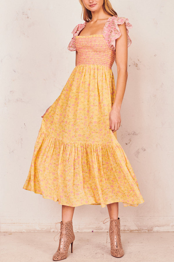 Pink and yellow floral print maxi dress with ruffle flutter sleeves and shirred bodice and flowy skirt