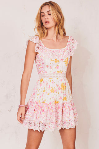 Pink, yellow and white off shoulder mini dress with white embroidery detail and tiered ruffle skirt